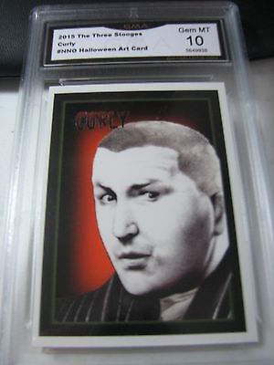 CURLY HOWARD 2015 CHRONICLES OF THE THREE 3 STOOGES HALLOWEEN ART GRADED 10 A - Three Stooges Halloween