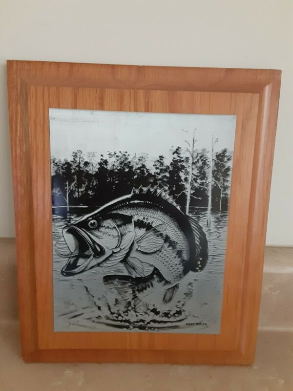 VINTAGE Wiley Miller Fish Etching - Fishing and Game  Plaque Wall Hanging