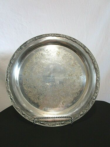 "Wm Rogers & Sons 1972 Victorian Rose 15"" Silverplate Platter Round Serving Tray"