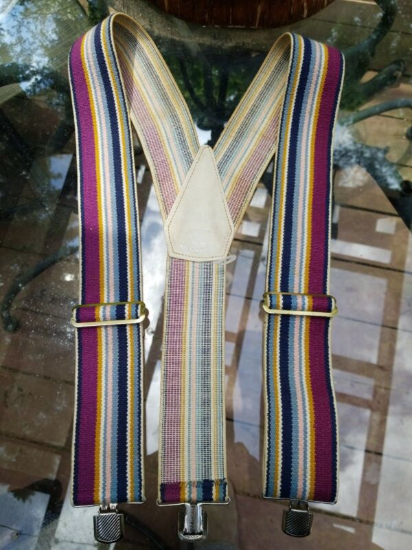 Hickok Belt Makers Hang Ups Vintage Rainbow Striped Suspenders Clip Ons Retro