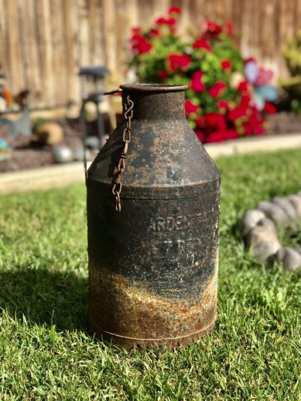 Vintage Metal Arden Farms Large Patinized Milk Jug