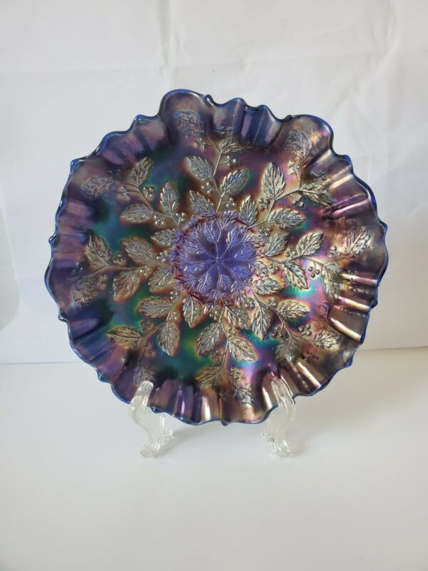 Antique Fenton Amethyst Blue Holly  Holly & Berries Carnival Glass Bowl 9 ¼