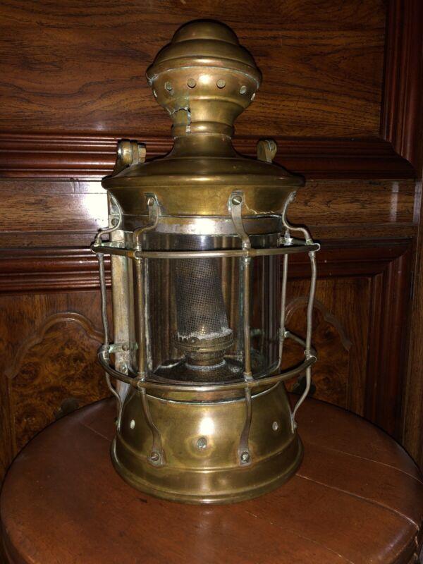 Antique Large Edward Miller Co. Brass Ships Lantern