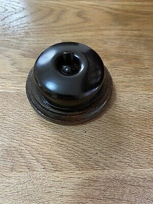 VINTAGE ART DECO ROUND LIGHT SWITCH BROWN TOGGLE ORIGINAL WOODEN SURROUND