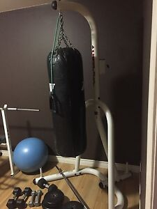 Free weights set & heavy bag