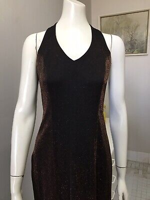 80s Dresses | Casual to Party Dresses Original Vintage 80s Lurex Dress Maxi, Bronze Dress Party Cocktail, Small $46.38 AT vintagedancer.com