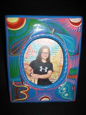 Picture Frame Two Hand Painted Birds - Great Birthday Gift Mexican Folk Art