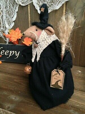 Primitive Halloween Witch Dolls (NEW!! Primitive Handmade HALLOWEEN Good Luck Folk Art Kitchen WITCH Mouse)
