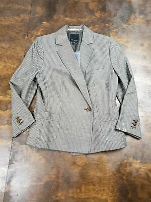 Women's The Limited Brown Pinstriped Blazer Single Button Size 6 Double Breasted