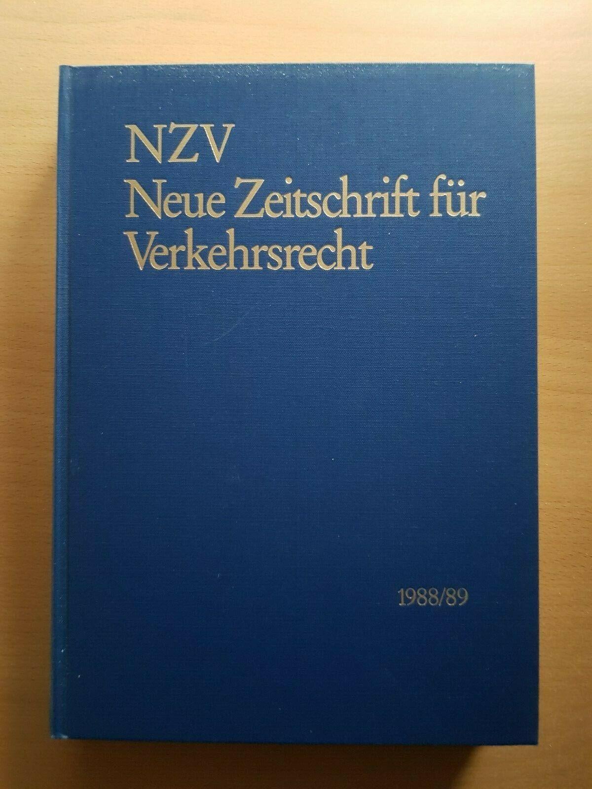 NZV Neue ZEITSCHRIFT für VERKEHRSRECHT Jahrgang 1988 1989 Original Gebunden