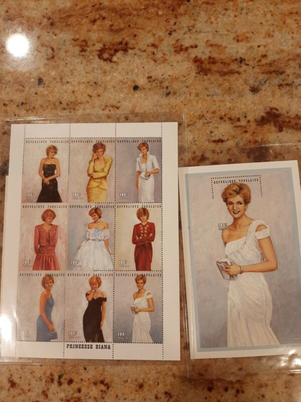 Princess Diana Royal Gowns Block 9 Stamps / 1 with Certificate of Authenticity