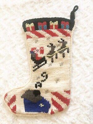 Vintage Berek Hand Knitted Wool Christmas Stocking Santa Claus Reindeer ()