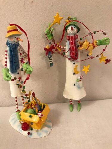 Department 56 Pair Of Vintage Snowman Ornaments