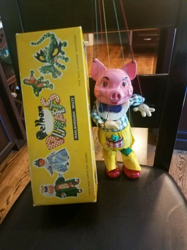 Vintage Pelham Puppet Marionette SL63 Pig with Original Packaging