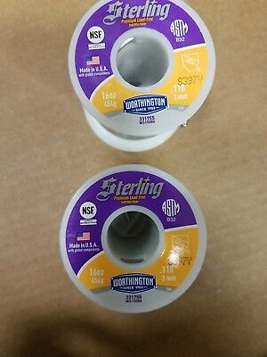 2 Sterling Worthington Lead Free Solid Wire Solder .118 331755 2 Pounds