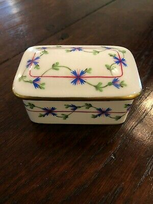Herend Blue Garland Porcelain Trinket Box MINT!