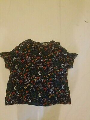 H&M WOMEN'S MULTI FLORAL SHORT SLEEVE BLOUSE SIZE 14 VERY NICE! (C)