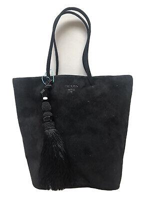 Prada Bag Mini Tote Purse Handbag Suede Leather Tassel Fringe Vintage 90s RARE