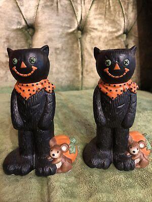 Vintage Halloween Black Cat Hallmark Ceramic Candle Stick Holders coraline scare