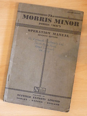 MORRIS MINOR OPERATION MANUAL - SEVENTH EXPORT EDITION (1952)