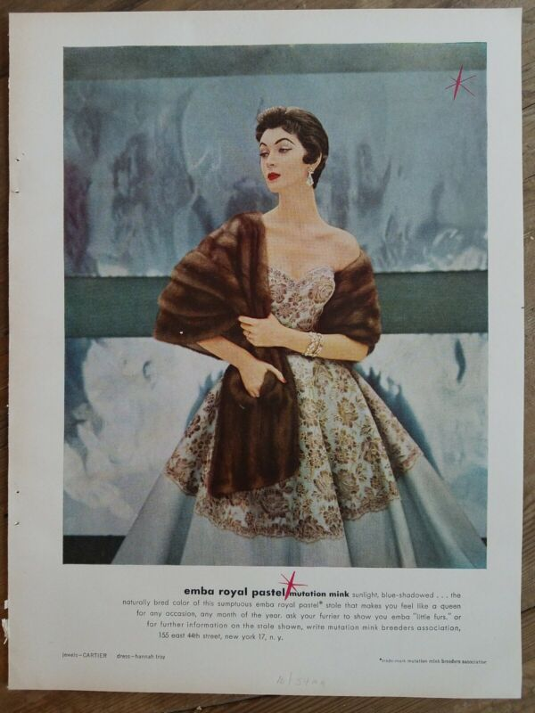 1954 Dovima Emba Royal pastel mutation mink stole vintage fashion ad