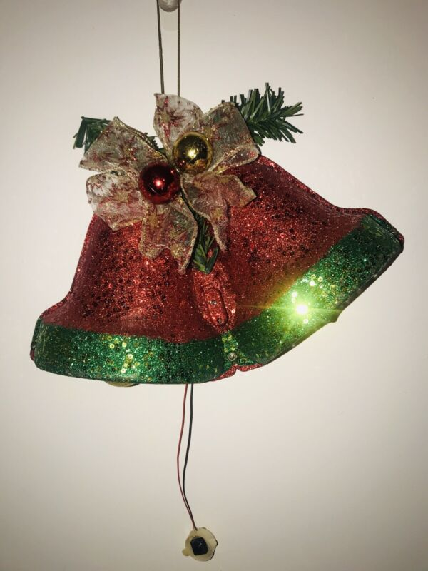 Vintage Musical Christmas Holiday Lighted Glittery Jingle Bells Wall Decoration
