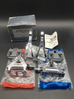 VINTAGE SHIMANO 600 ULTEGRA PD-6400 PEDALS WITH TOE CLIPS SIZE LARGE NIB...