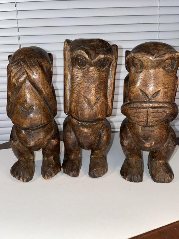 VINTAGE -Old Set of 3 Wooden Carved Monkeys Figures - (hear,see,speak)