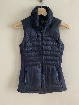 Lululemon Down For A Run Vest Fluff 800 Fill Goose Down Blue Inkwell Size 2