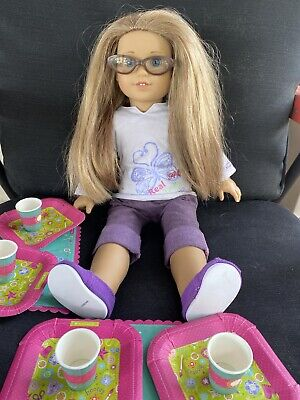 American Girl Doll Blonde Hair Blue Eyes Glasses
