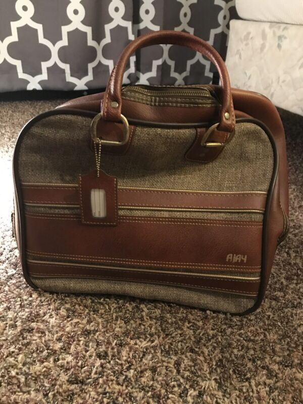 Vintage Ajay Brown Leather and Burlap Bowling Ball Bag