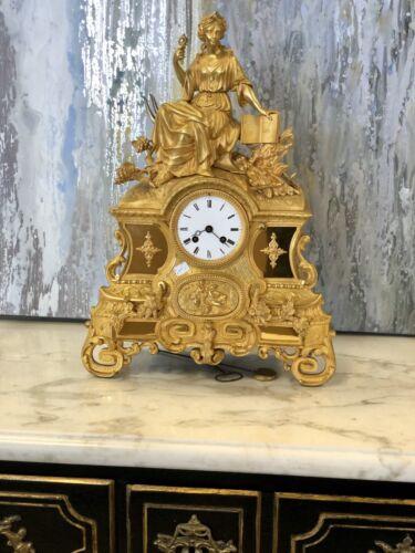 A French gilt bronze mantel clock Paris 19th Century Free Shipping