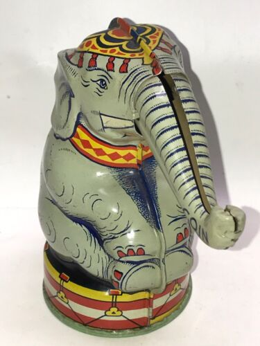 1940s TIN LITHOGRAPH MECHANICAL BANK - CIRCUS ELEPHANT - CHEIN TIN LITHO BANK