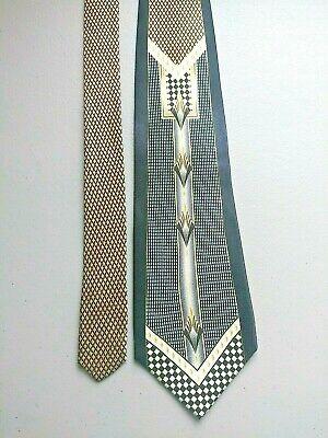 History of 1920s Men's Ties, Neckties, Bowties Men's Vintage Pierre Cardin MCM Silk Tie Swing MOB Black Silver Loud 1920's Vibe $59.99 AT vintagedancer.com