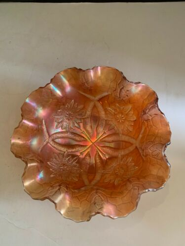 Vintage Marigold Carnival Glass Bowl Flower Pattern Bowl