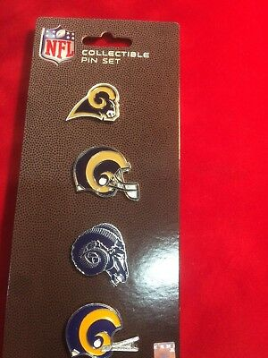 Los Angeles LA Rams Logo NFL Football Evolution Collectible 4 Piece Pin Set Nfl Collectible Pins