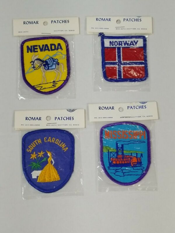 Vtg Romar Patches Nevada Norway South Carolina Mississippi Patches Lot