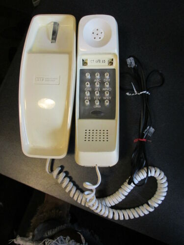 VTG 1978 GTE Tan / Yellowish Push Button Trimline Phone with Cord Plug-In Works