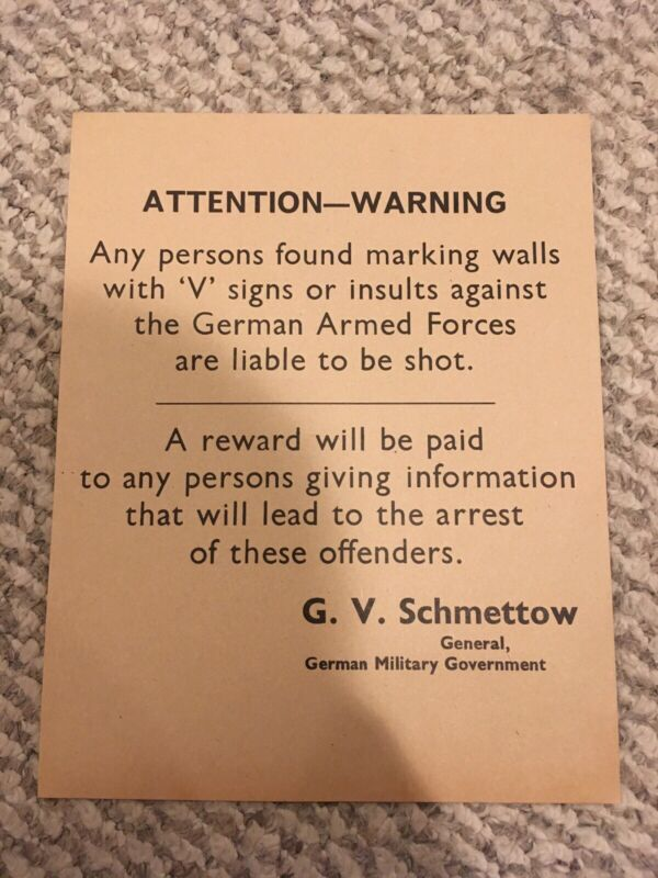 German Occupation Warning WWII Poster Guernsey and Jersey Island