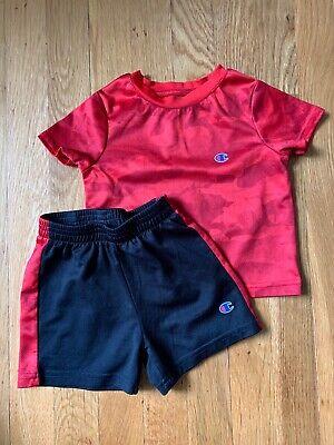 Baby Boys CHAMPION 18 Months Shorts Shirt 2 Piece Set Red Black