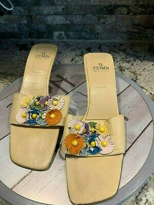 FENDI Sz 7.5 Beige High Heels Open Toe Sandals Floral Pattern