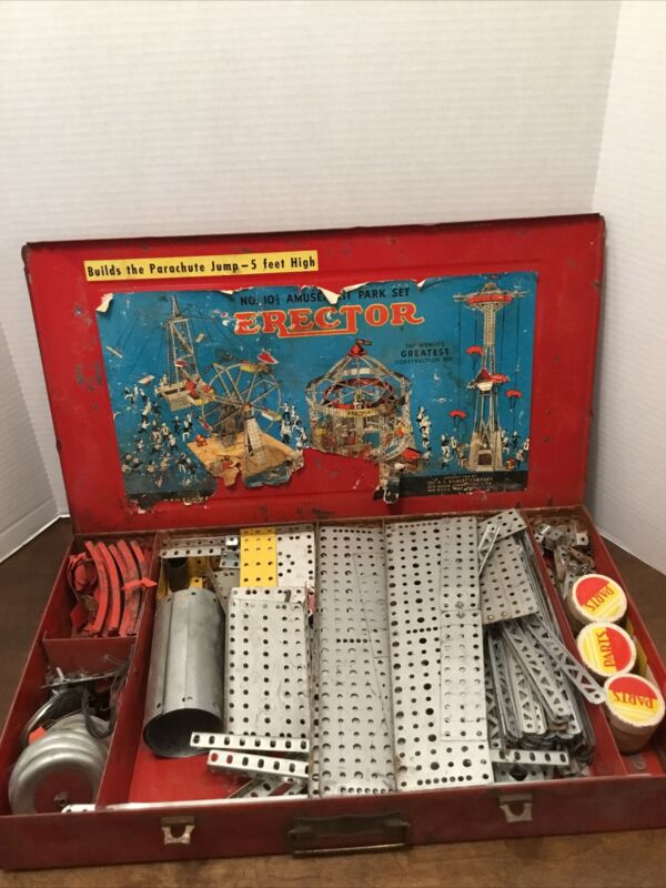 Gilbert No. 10 1/2 Amusement Park Erector Set Red Metal Case Parts Pieces Vintg