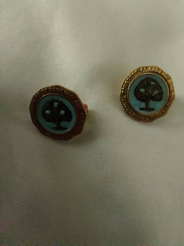 (2)National Congress of Parents and Teachers 1897 Lapel Pin 1/20 10k Gold Filled
