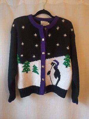 26774ad77cd1 Vintage Lord & Taylor hand embroidered Christmas holiday caridigan penguin M
