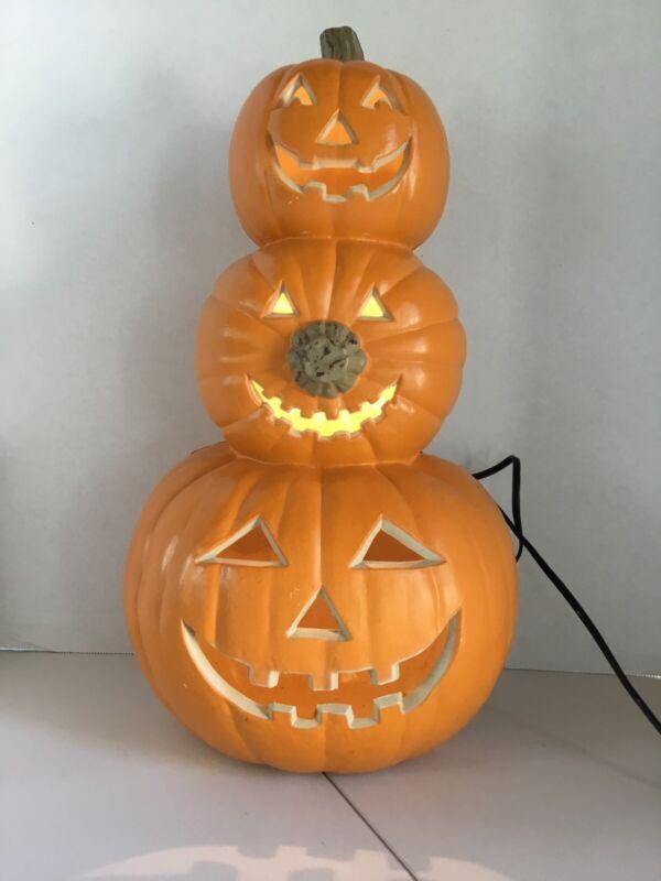 Halloween Jack O Lantern Pumpkin Stack of 3 Electric Light trio totem EUC