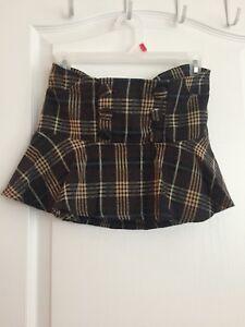 Plaid mini skirt size S
