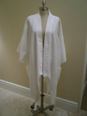 Womens Saks Fifth Avenue 100% Cotton Turkish Waffle weave Luxurious Kimono robe (White Waffle Robe)