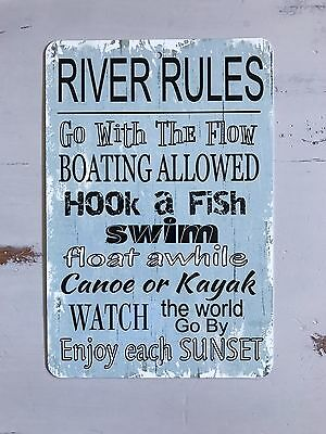 NEW - River Rules Metal Sign - Home Decor - Nautical Decor - Outdoor Sign](Outdoor Home Decor)