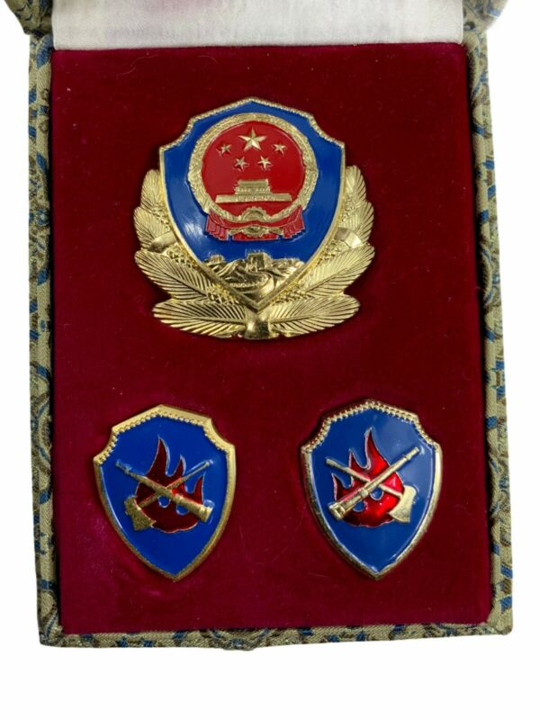 China Chinese Fire & Rescue Department Cap & Collar Badge Boxed Set