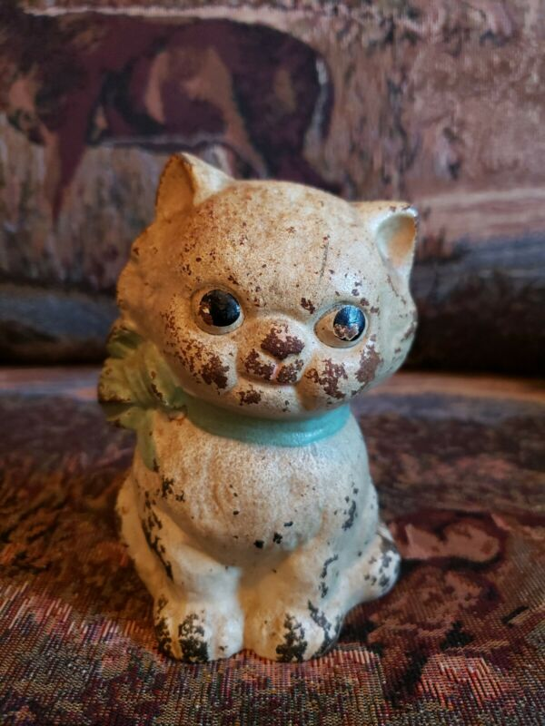 "Vintage Adorable Cat Kitten Cast Iron Bank 4.5"" Tall, White With a pink bow"